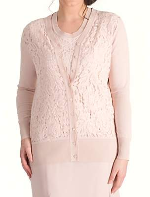 chesca Chesca Corded Lace Trim Cardigan, Dark Blush
