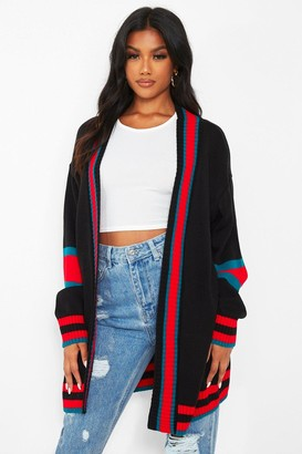 boohoo Contrast Stripe Oversized Cardigan
