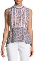 Rebecca Minkoff Jamie Sleeveless Mock-Neck Floral-Print Peplum Top