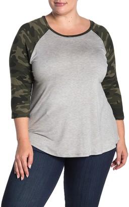 Sweet Romeo Camo Print 3/4 Raglan Sleeve Baseball T-Shirt (Plus Size)