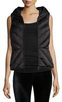 Blanc Noir Satin Mesh-Inset Puffer Vest, Black