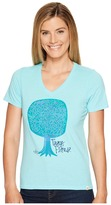 Life is Good Trees Please Cool Vee Women's T Shirt