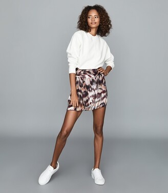 Reiss Josephine - Printed Mini Skirt in Berry