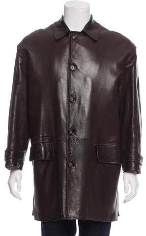 Gucci Button-Up Leather Coat