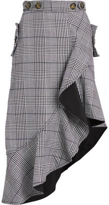 Self-Portrait Ruffled Plaid Asymmetric Skirt