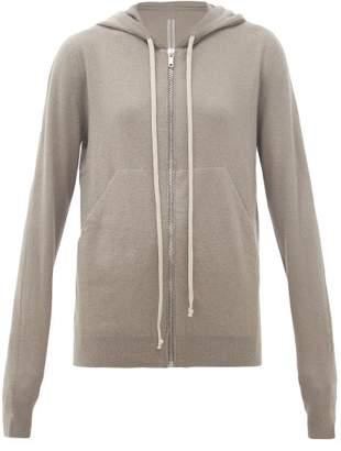 Rick Owens Zip-through Boiled-cashmere Hooded Sweatshirt - Womens - Grey