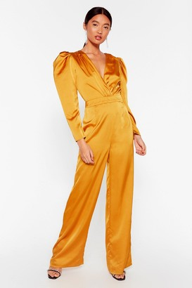 Nasty Gal Womens Waitin' For Our Entrance Satin V-Neck Jumpsuit - Mustard