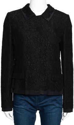 Dolce & Gabbana Black Cotton Silk Floral Lace Jacket M