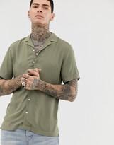 Asos Design DESIGN regular fit viscose shirt in khaki