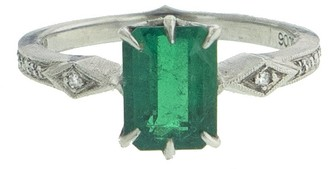 Cathy Waterman Colombian Emerald Platinum Ring