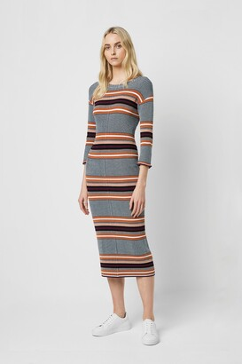 French Connection Tosca Stripe 3/4 Length Sleeve Dress