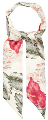 Gucci Hawaiian-print Slim Silk Scarf - White Multi