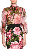 Dolce & Gabbana Tie-Neck Rose-Print Sheer Blouse, Rose Pink/Black