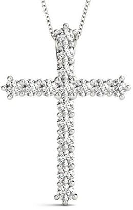 14KT Gold 1.00 CT Petite Cross Prong-Set Round Diamond Pendant Necklace Amcor Design