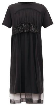 Simone Rocha Ruffled Tulle And Cotton-jersey T-shirt Dress - Womens - Black