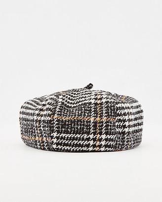 Le Château Check Print Cotton Blend Beret Hat