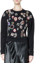 Lanvin Beaded Long-Sleeve Sweatshirt, Black (Noir)