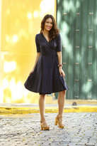 Shabby Apple Ali Wrap Navy Dress