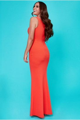 Linzi Goddiva Vicky Pattison Orange Side Shoulder Bow Maxi Dress