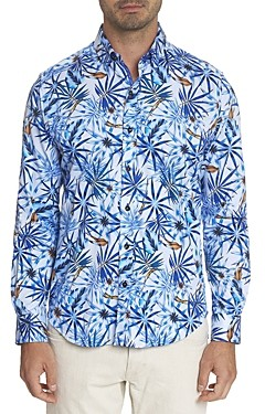 Robert Graham Prose Cotton Stretch Tropical Print Slim Fit Button-Down Shirt