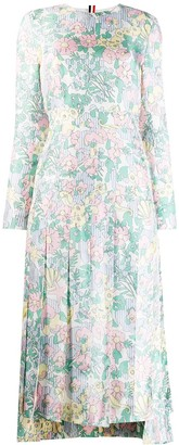 Thom Browne Sunny Floral Multi Print Long Sleeve Pleated Dress
