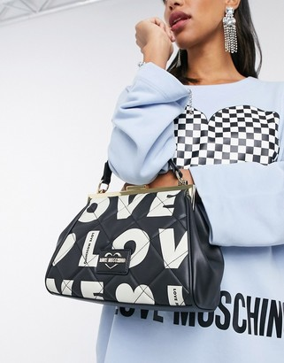 Love Moschino love print bag with clasp in black