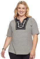 Croft & Barrow Plus Size Floral Embroidered Top