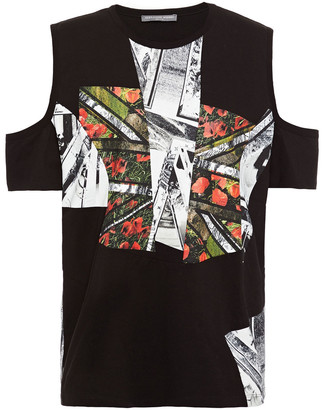 Alexander McQueen Cold-shoulder Printed Cotton-jersey T-shirt