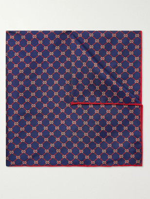 Gucci Logo-Print Silk-Twill Pocket Square