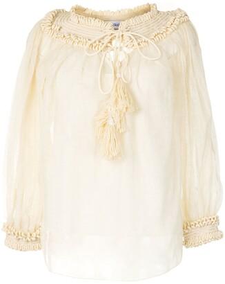 Oscar de la Renta Knit-Detailing Silk Blouse