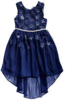 Sweet Heart Rose Floral Applique Dress, Little Girls