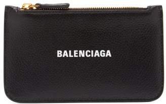 Balenciaga Cash Logo-print Leather Cardholder Coin Purse - Womens - Black