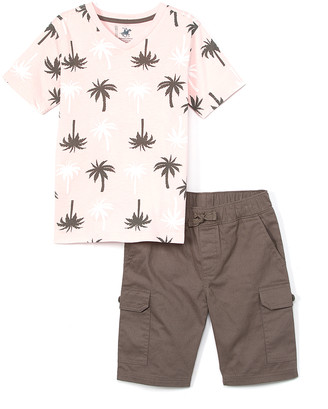Beverly Hills Polo Club Boys' Casual Shorts ALMOND - Almond Blossom Palm Tree V-Neck Tee & Taupe Cargo Shorts - Boys
