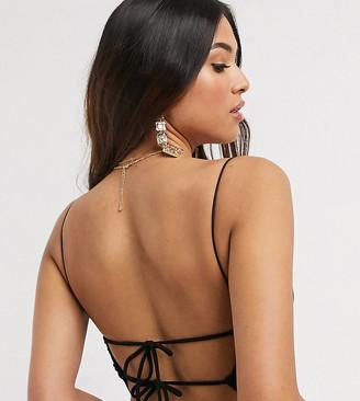 ASOS DESIGN Petite strappy tie back bodysuit in black