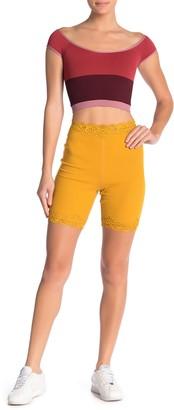 Free People Harlow Lace Trim Biker Shorts