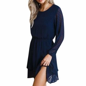Ashui Women Round Neck Mini Dress Solid Cascading Lantern Sleeve Casual Long Sleeved Daily Dress Dark Blue