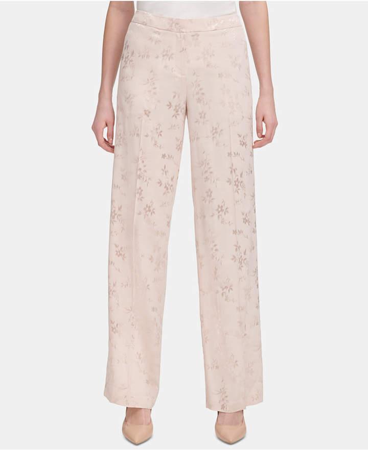 Calvin Klein Floral-Print Wide-Leg Pants