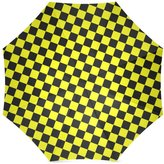 Checkered Pattern Umbrella Black and Yellow Checkered Pattern Folding Portable Outdoor Rain /Sun Umbrella Beach Travel Shade Sunscreen For Women/Men