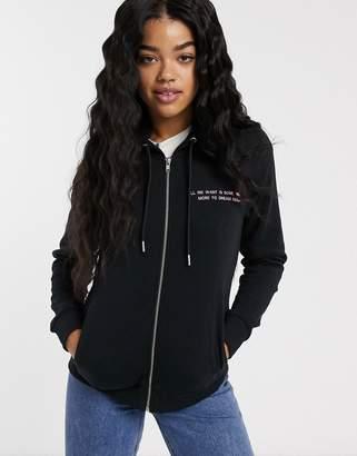 JDY Louise long sleeve zip up hoodie-Black