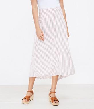 LOFT Striped Hi-Lo Midi Skirt