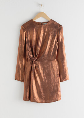 And other stories Metallic Satin Side Knot Mini Dress