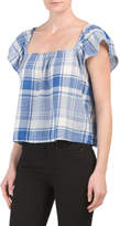 Juniors Plaid Short Sleeve Top