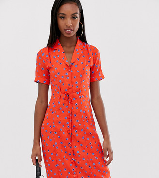 Fashion Union Tall fitted midi shirt dress in floral-Red