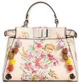 Fendi Micro Peekaboo Floral Applique Leather Satchel - Beige