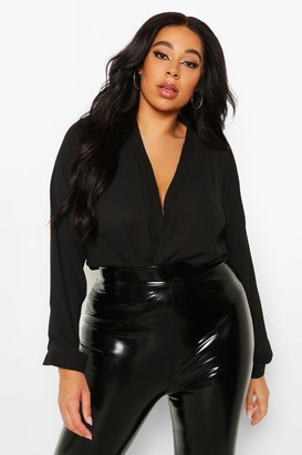 boohoo Plus Draped Long Sleeve Blouse