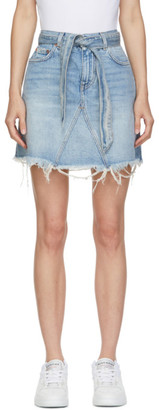 Givenchy Blue Denim Belted Miniskirt