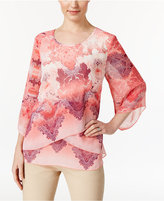 JM Collection Petite Printed Criss-Cross Blouse, Only at Macy's