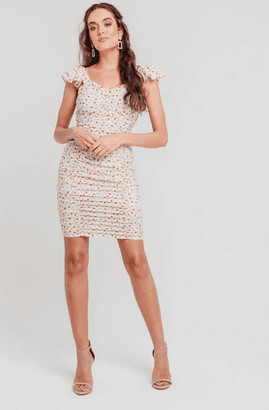 Pretty Darling White Ditsy Floral Sweetheart Neck Ruched Bodycon Dress