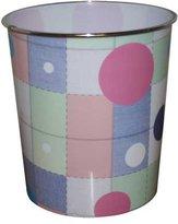 JVL Novelty Fun Plastic Waste Paper Bin Basket, Squares - 25 x 25 x 26.5 cm