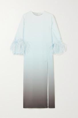 16Arlington Billie Feather-trimmed Ombre Crepe Midi Dress - Blue